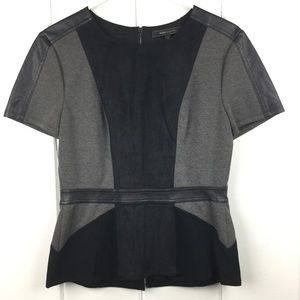 BCBG Black Faux Leather Accent Fitted Top - S